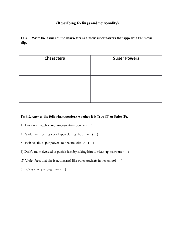 Movie Worksheet: Dinner Scene [The Incredibles]