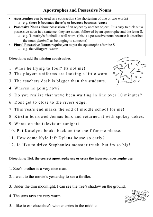 Year 7-9 Grammar worksheet (Australian English). Apostrophes as ...
