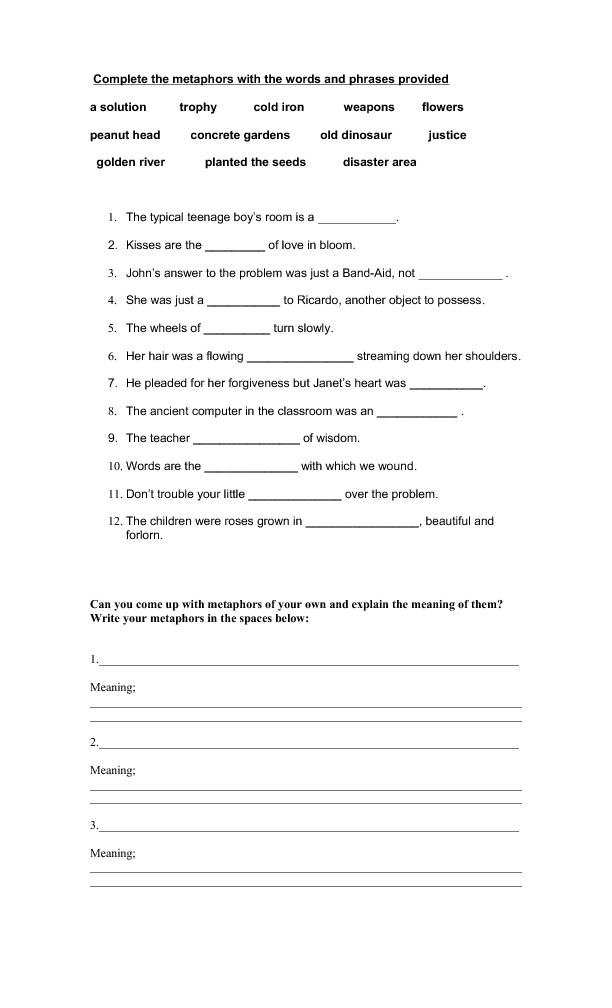1354086708metaphorspng – Metaphors Worksheet