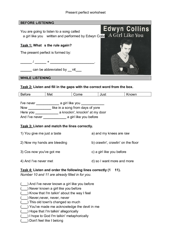 Song Worksheet: Girl Like You [Present Perfect]