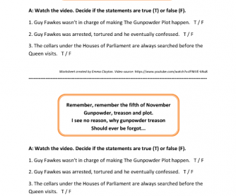 Bonfire Night/Guy Fawke's Night (UK Holiday) Video Worksheet