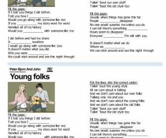 Song Worksheet: Young Folks by Peter, Bjorn & John