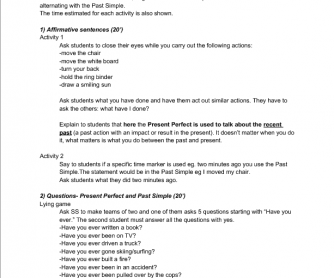 Speaking Skills Lesson Plan [Present Perfect and Past Simple]
