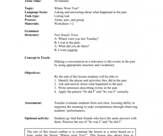 Lesson Plan: The Past Simple Tense