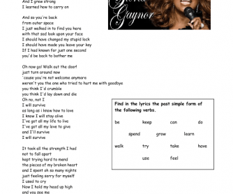 Song Worksheet: I Will Survive [Past Simple Verbs]