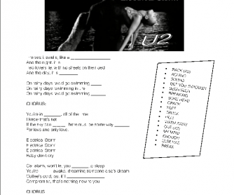 Song Worksheet: Electrical Storm by U2 [Gap-fill and Vocabulary]
