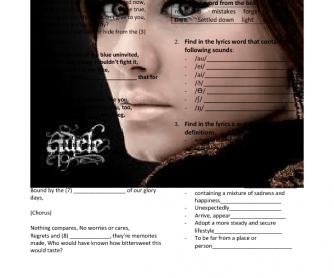 Song Worksheet: Someone Like You by Adele