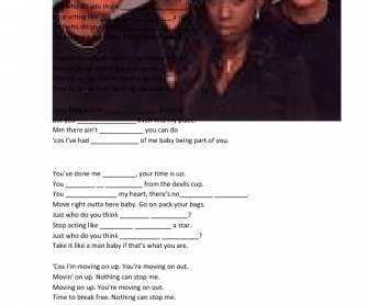 Song Worksheet: Move On Up by M People