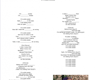 Song Worksheet: I'm Wide Awake by Katy Perry