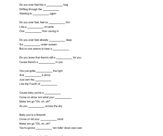 Song Worksheet: Firework by Katy Perry
