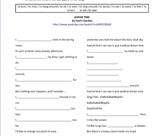 Song Worksheet: Lemon Tree by Fools Garden