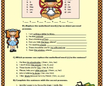 Personal Pronouns Elementary Worksheet