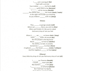 Song Worksheet: Every Drop of Rain by David Byrne