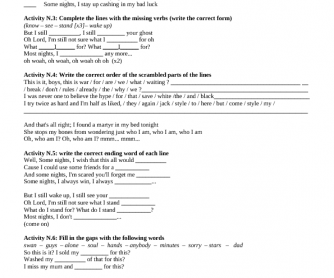 Song Worksheet: Some Nights