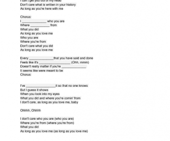 Song Worksheet: As Long As You Love Me by Back Street Boys