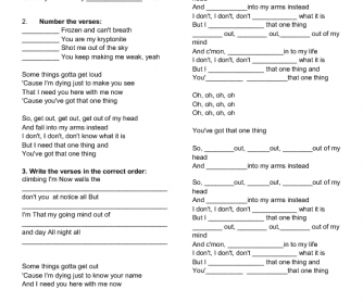 Song Worksheet: One Thing by One Direction