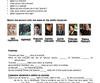 Printables Hunger Games Worksheets video session the hunger games