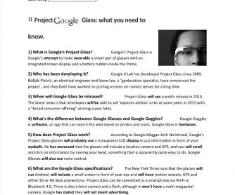 Google Project Glass (Present Perfect Worksheet)