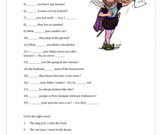Auxiliary Verbs, 3rd Person Singular, Prepositions, Reading Comprehension