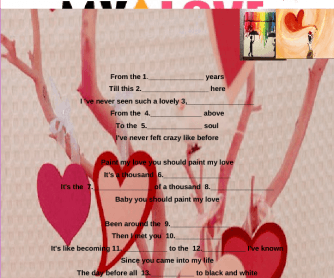 Song Worksheet: Paint My Love by Michael Learns to Rock