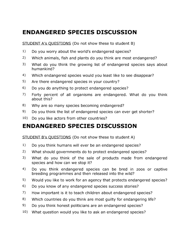 Species Discussion – Endangered Species Worksheet