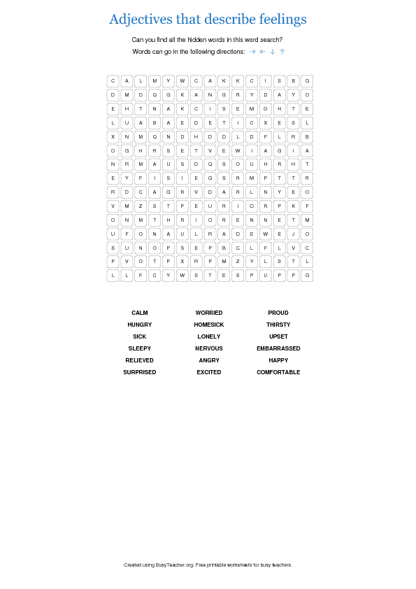 Adjectives That Describe Feelings Word Search