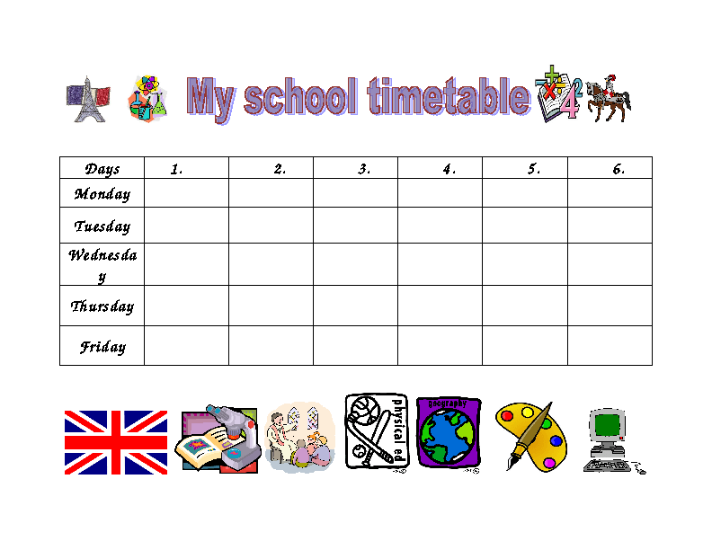 School Timetables School Timetable