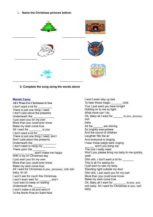 Mariah Carey All I Want For Christmas Is You Lyrics.Song Worksheet All I Want For Christmas Is You By Mariah Carey