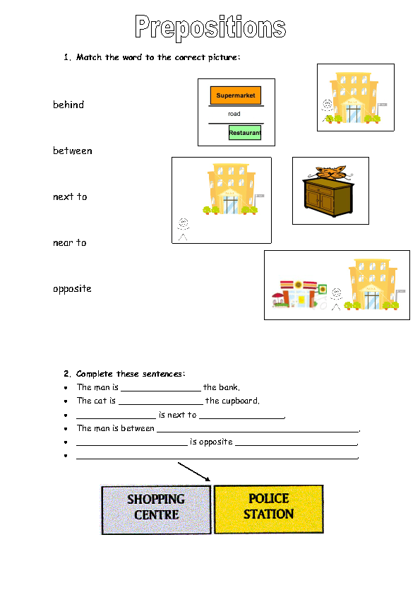 Preposition In Learn In Marathi All Complate: Places Around Town: Prepositions Of Place Worksheet
