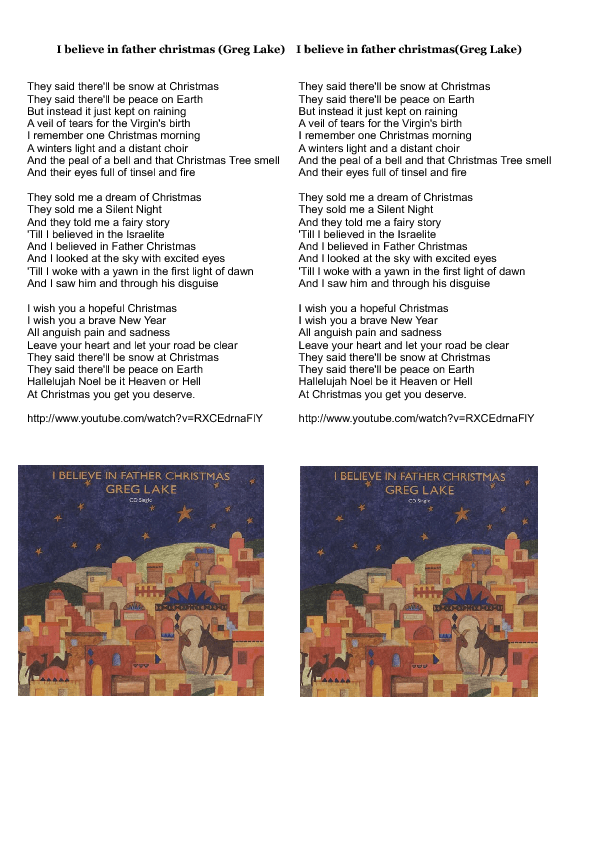 song worksheet i believe in father christmas by greg lake - Greg Lake I Believe In Father Christmas