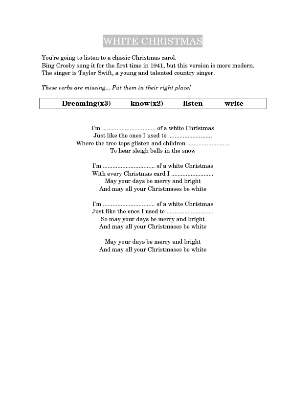 song worksheet white christmas by taylor swift - White Christmas Song