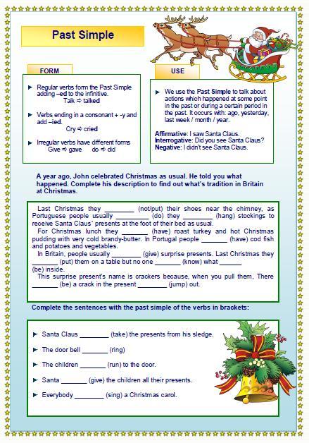 Christmas Past Simple Worksheet