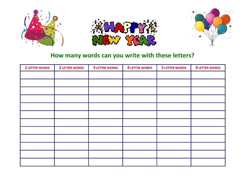 make a word out of letters how many words can you write with these letters 23547 | 1356006472 copia de happy new year