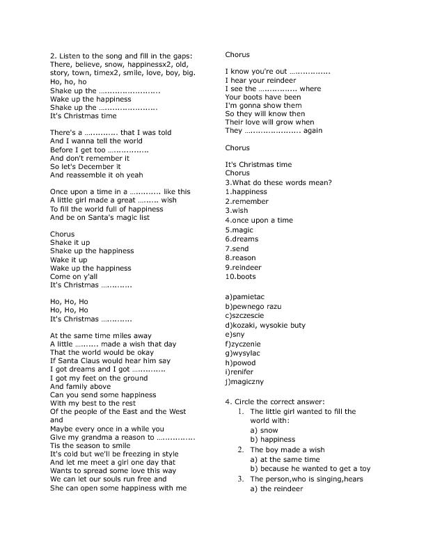 song worksheet shake up christmas by train - Lyrics To This Christmas