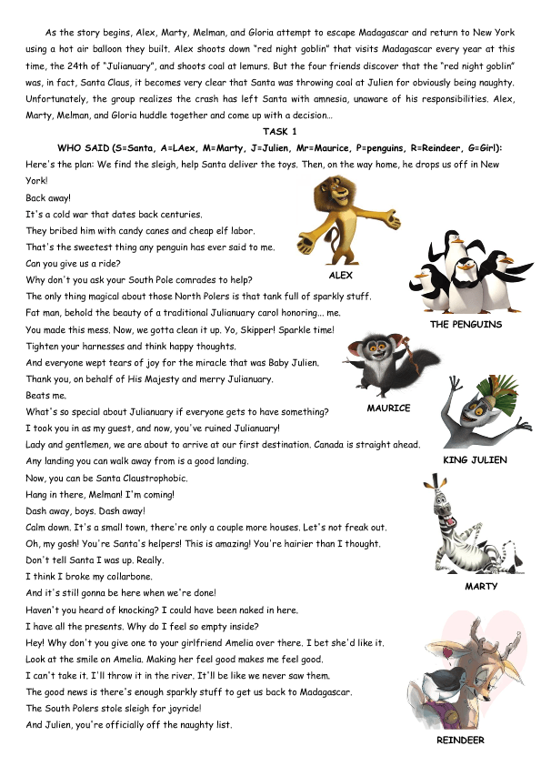 Cartoon Worksheet: Merry Madagascar