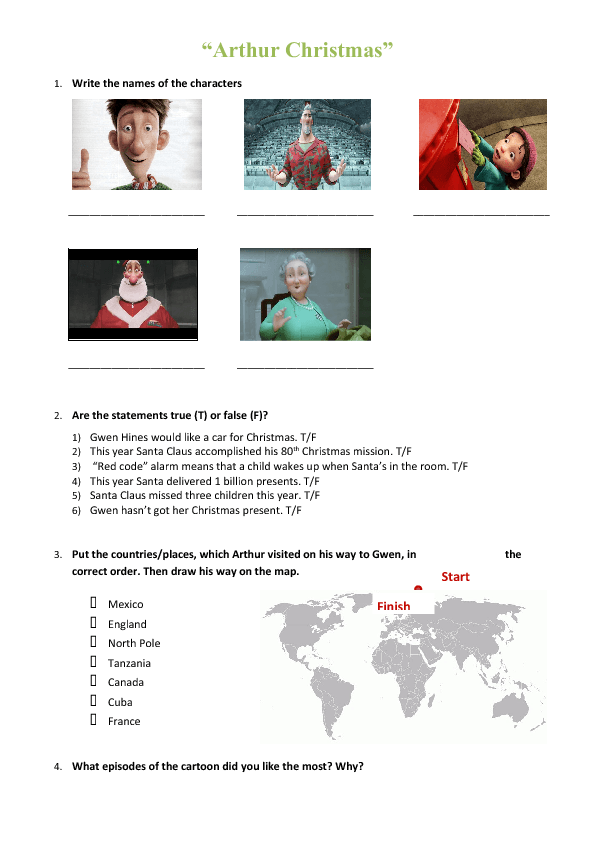 Arthur Christmas Characters.Movie Worksheet Arthur Christmas