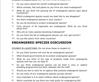 Endangered Species Discussion