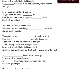 Song Worksheet: Windows Down by Big Time Rush
