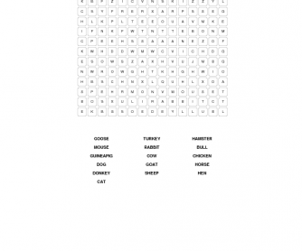 Home Animals Wordsearch