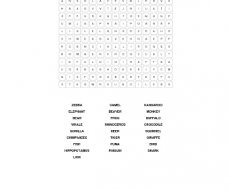 Wild Animals Wordsearch
