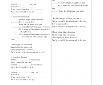 Song Worksheet: Diamonds by Rihanna