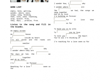 Song Worksheet: My Love by West Life