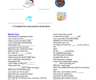song worksheet all i want for christmas is you by mariah carey - All I Want For Christmas Is You Mariah Carey Lyrics