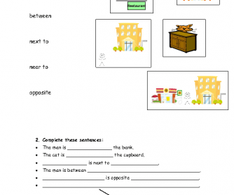 Places Around Town: Prepositions of Place Worksheet