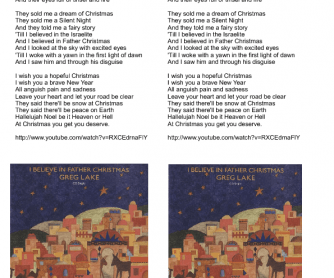 Song Worksheet: I Believe in Father Christmas by Greg Lake