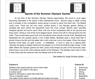 Sports Of The Summer Olympic Games [Matching]