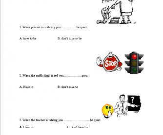 Have to Worksheet (Obligation, Necessity, Duty)