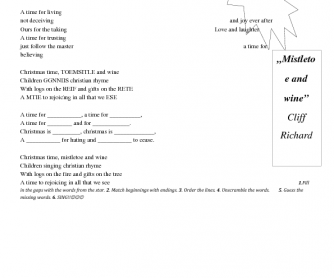 Song Worksheet: Mistletoe and Wine by Cliff Richards