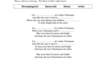 Song Worksheet: White Christmas by Taylor Swift