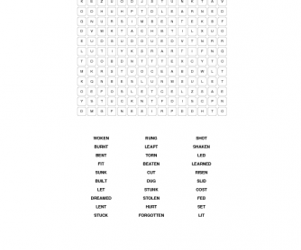 Irregular Verbs Past Participles Wordsearch